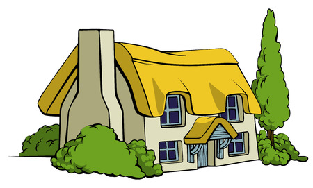 An illustration of a thatched country cottage or farm house Illustration