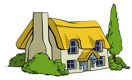 Une illustration d'un chalet au toit de chaume ou ferme