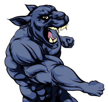 A mean looking panther sports mascot fighting and punching with fist