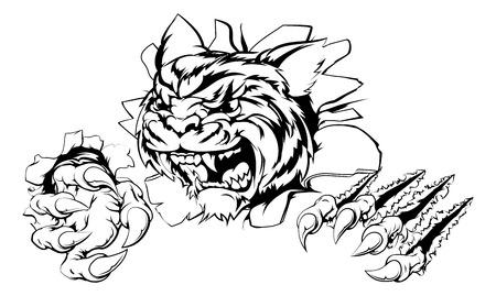 Un tigre que ataca con garras avance dibujo de un tigre rasgando el fondo Ilustración de vector