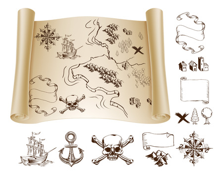 Example map and design elements to make your own fantasy or treasure maps. Includes mountains, buildings, trees, compass, ship skull and crossbones and more.