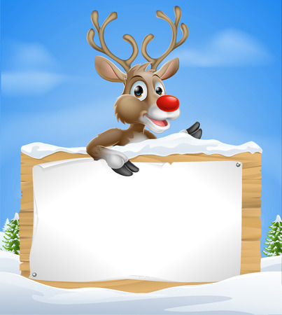 Cartoon Christmas Reindeer Sign of one of Santa's cute red nosed reindeer a snow covered sign and pointing sign