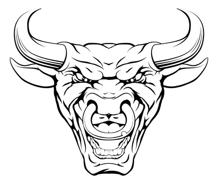 A mean looking bull mascot character with a ring through its nose roaring