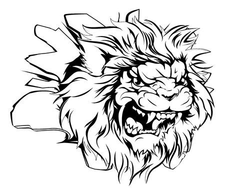 Eine mittlere suchen Löwe Tiermaskottchen durch eine Wand zu brechen Standard-Bild - 36672102