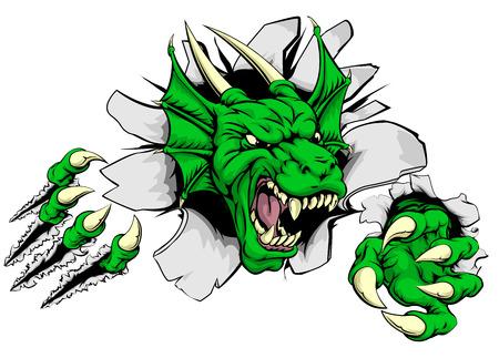 Een aanvallende draak met klauwen doorbraak tekening van een draak scheuren door de achtergrond