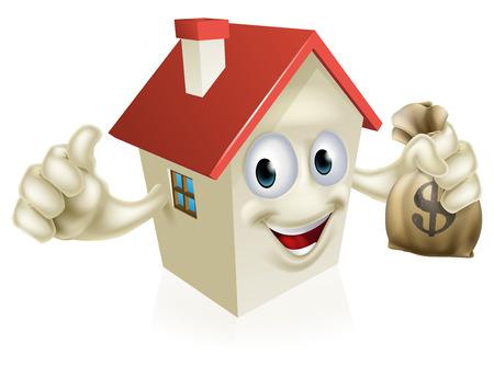 Een illustratie van een cartoon huis karakter houden een zak geld en het geven van een thumbs up Stock Illustratie