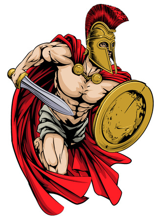 An illustration of a warrior character or sports mascot  in a trojan or Spartan style helmet holding a sword and shield