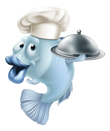 An illustration of a blue cartoon chef fish character holding a tray or platter cloche, seafood mascot concept
