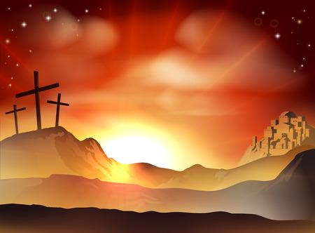 Drammatico concetto cristiano di Pasqua di Gesù e dei due ladri attraversa sulla collina del Calvario al di fuori delle mura della città