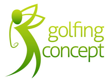 A conceptual illustration of a golfer golfing swinging his club