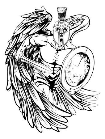 Een illustratie van een krijger engel karakter of sport mascotte in een trojan of Spartaanse stijl helm met een zwaard en schild