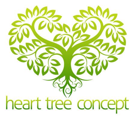 Een abstracte illustratie van een boom groeit in de vorm van een hart conceptontwerp Stock Illustratie