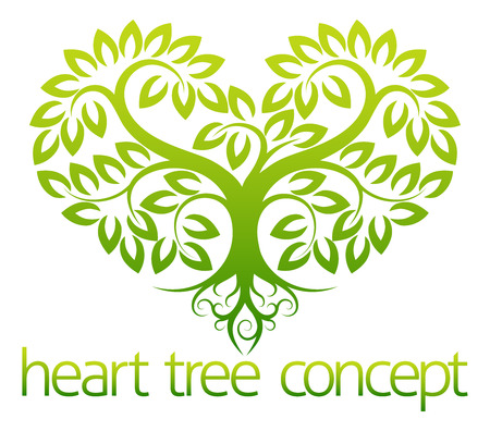 An abstract illustration of a tree growing in the shape of a heart concept design