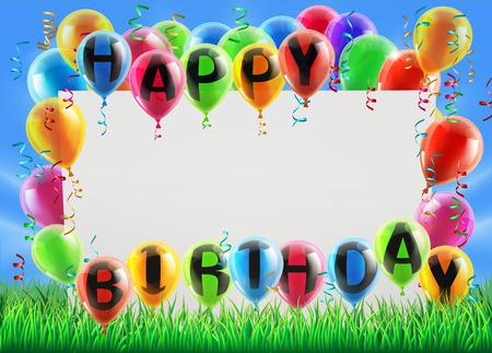 Una señal en un campo con globos que leen feliz cumpleaños. Ideal para una fiesta de cumpleaños invita o similar
