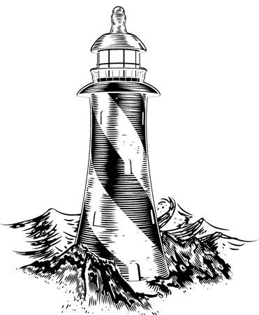 ビンテージ リトグラフ スタイル荒波の後ろで灯台  イラスト・ベクター素材