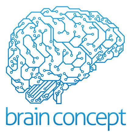 프로필에 전자 회로 기판 뇌의 추상 그림, 인공 지능 개념을 인공 지능