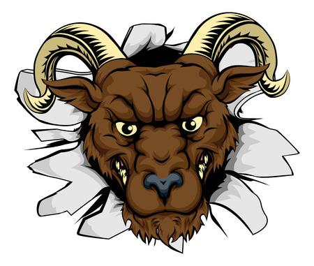 A mean ram character or sports mascot breaking out