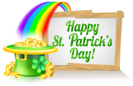 A St Patricks Day sign Happy reading St Patricks Day with a Leprechaun hat with shamrock four leaf clover and full of gold coins at the end of the rainbow