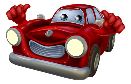 Cartoon classic car character with a happy face giving a thumbs up