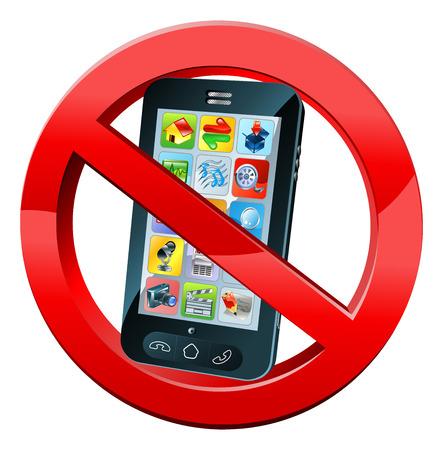 또는 해제하시기 바랍니다 전화가 빨간색으로 휴대 전화와 함께 서명 없음 휴대 전화는 원을 넘어 없습니다