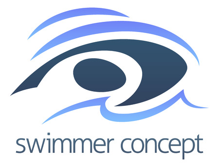 An abstract illustration of a swimmer swimming concept design