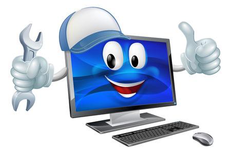 Une mascotte ordinateur charcter coiffé d'une casquette de baseball et tenant une clé tout en faisant un coup de pouce Banque d'images - 37360581