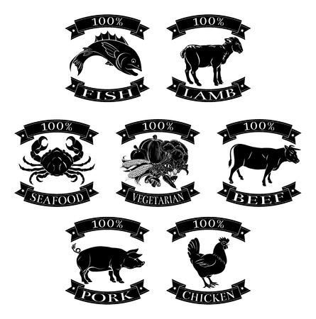Food animals 100 percent set for beef chicken fish pork lamb seafood and vegetarian options Illustration
