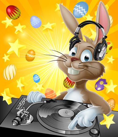 漫画イースター バニー DJ、レコード上のヘッドフォンで、バック グラウンドでのチョコレートのイースターエッグとデッキします。