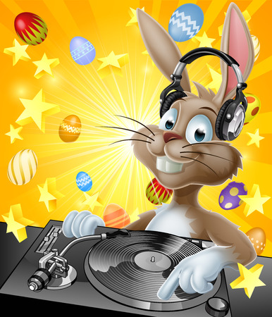 A cartoon Easter Bunny DJ with headphones on at the record decks with chocolate Easter eggs in the background