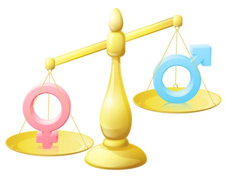 Een gendergelijkheid schalen conceptuele illustratie met mannelijke en vrouwelijke man en vrouw tekenen Stock Illustratie