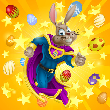 A cute cartoon superhero Easter Bunny character running with stars and chocolate Easter eggs in the background