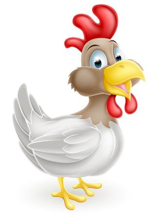 Een illustratie van een leuke gelukkige cartoon kip vogel