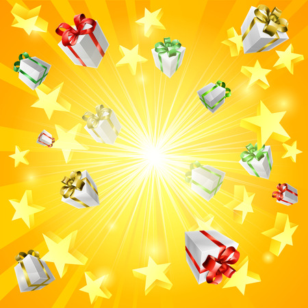 A gift present box and star jackpot or Christmas background