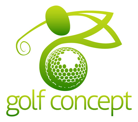 An illustration of an abstract golfer swinging his golf club and golf ball flying concept design