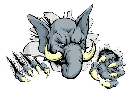 Ein unheimlich Elefanten Maskottchen Rippen durch den Hintergrund mit scharfen Krallen Standard-Bild - 37579747