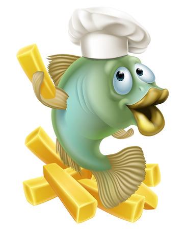 フレンチ フライやチップ、フィッシュ & チップスの概念を保持している漫画のシェフ魚キャラクターのイラスト。  イラスト・ベクター素材