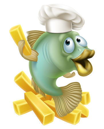 An illustration of a cartoon chef fish character holding a French fry or chip, fish and chips concept.
