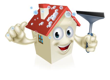 Un cartone animato casa mascotte Holding un seccatoio con bolle di sapone sul tetto
