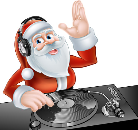 An illustration of cute cartoon Santa Claus DJ at the decks with headphones on Vectores