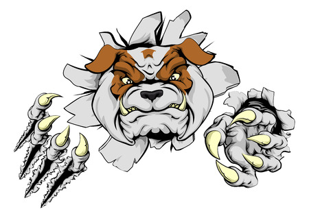 An illustration of a tough looking bulldog animal sports mascot or character breaking through Illustration