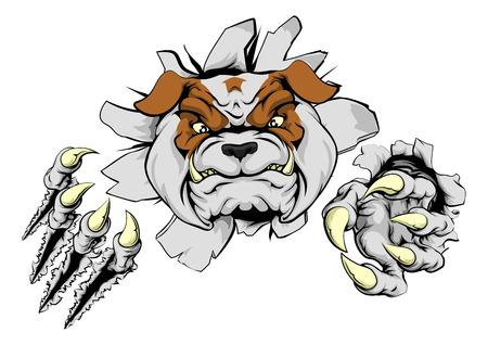 Una ilustración de un aspecto duro bulldog mascota de los deportes de origen animal o personaje rompiendo