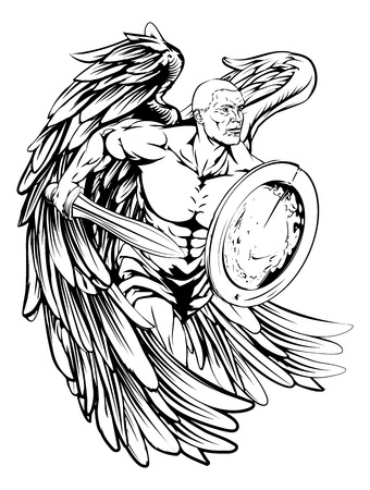 An illustration of a warrior angel character or sports mascot holding a sword and shield Illustration