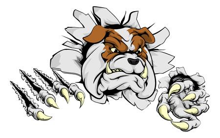 Un bulldog miedo que rasga a través del fondo con garras afiladas Ilustración de vector