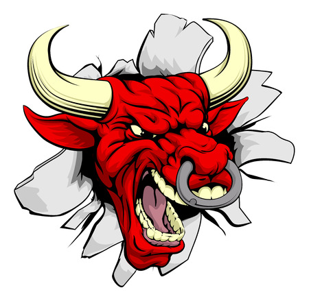 A red dragon sports mascot or character breaking out of the background or wall Illustration