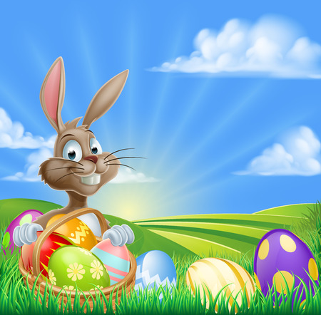 A cartoon Easter Bunny with a basket hamper of Easter eggs in a field with rolling hills Illustration