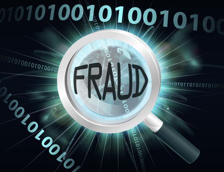 Un concepto abstracto binario globo datos informáticos de información que se busca con una lupa para el fraude en línea