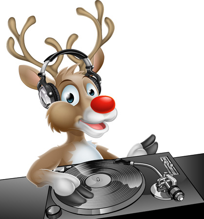 An illustration of a cute cartoon Christmas Reindeer DJ at the decks with headphones on