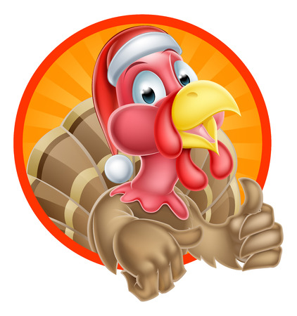 Christmas cartoon turkey mascot giving a thumbs up and wearing a Santa hat