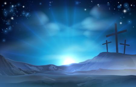 Een christelijke Pasen illustratie van drie kruisen op een heuvel