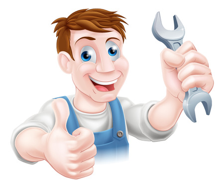 A plumber or mechanic holding a spanner and giving a thumbs up